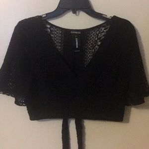 NWT Lace crop top with flow sleeves